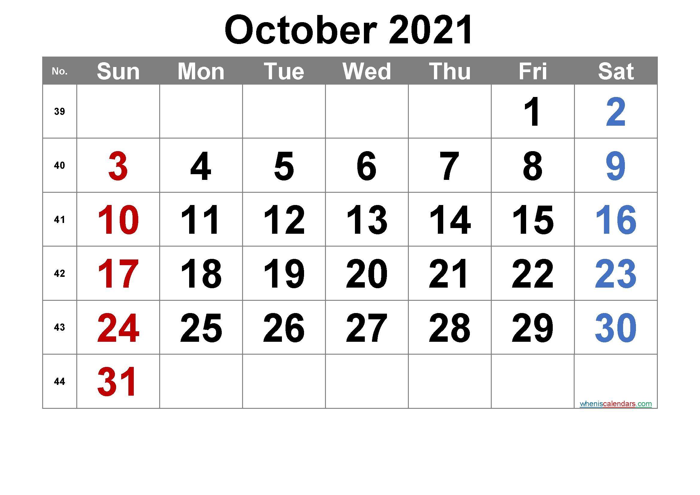 Printable October 2021 Calendar [Free Premium] In 2020