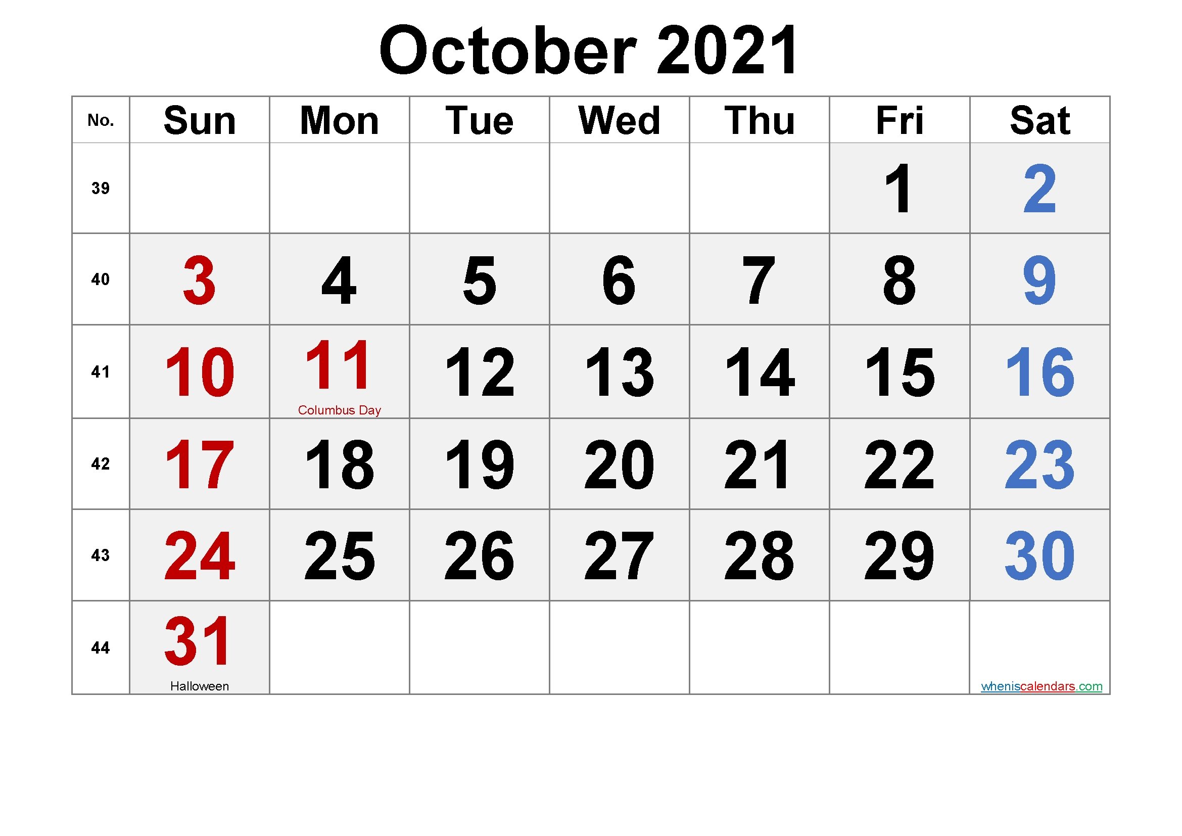 Printable October 2021 Calendar With Holidays – Free 2020
