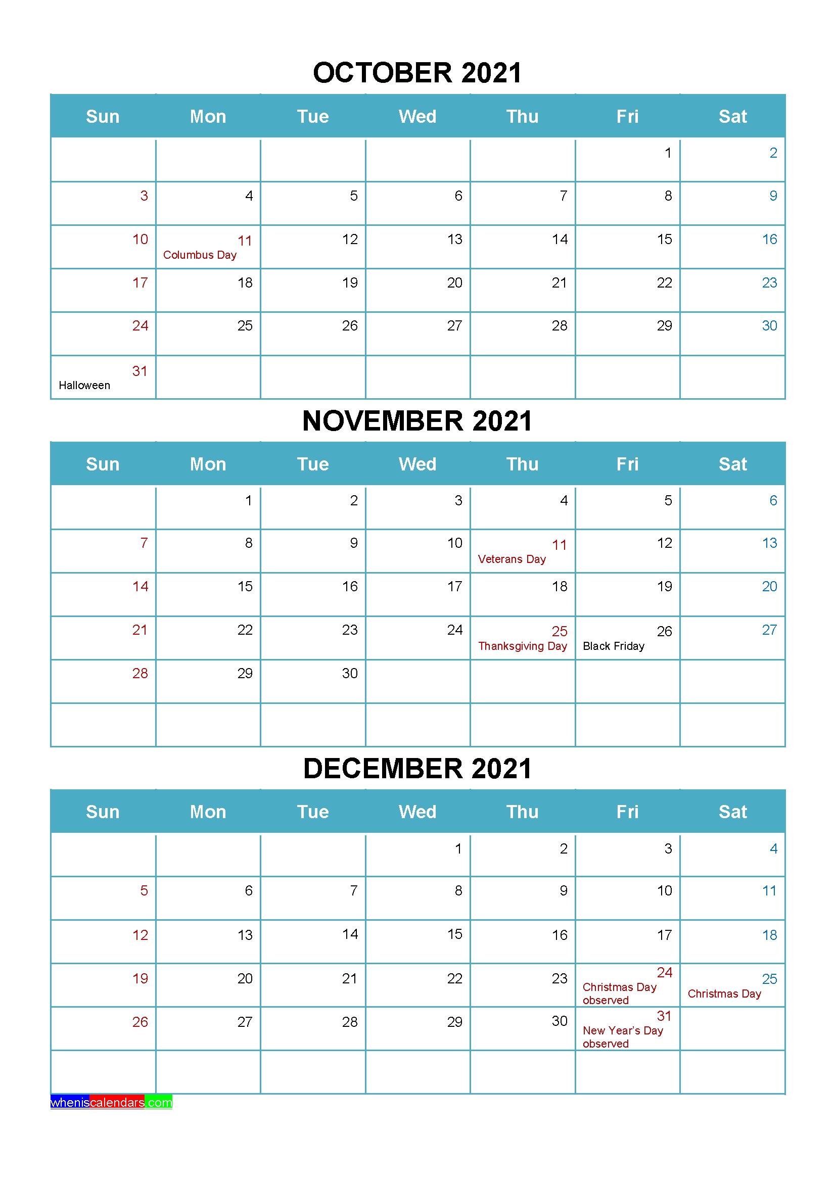 Printable October November December 2021 Calendar With