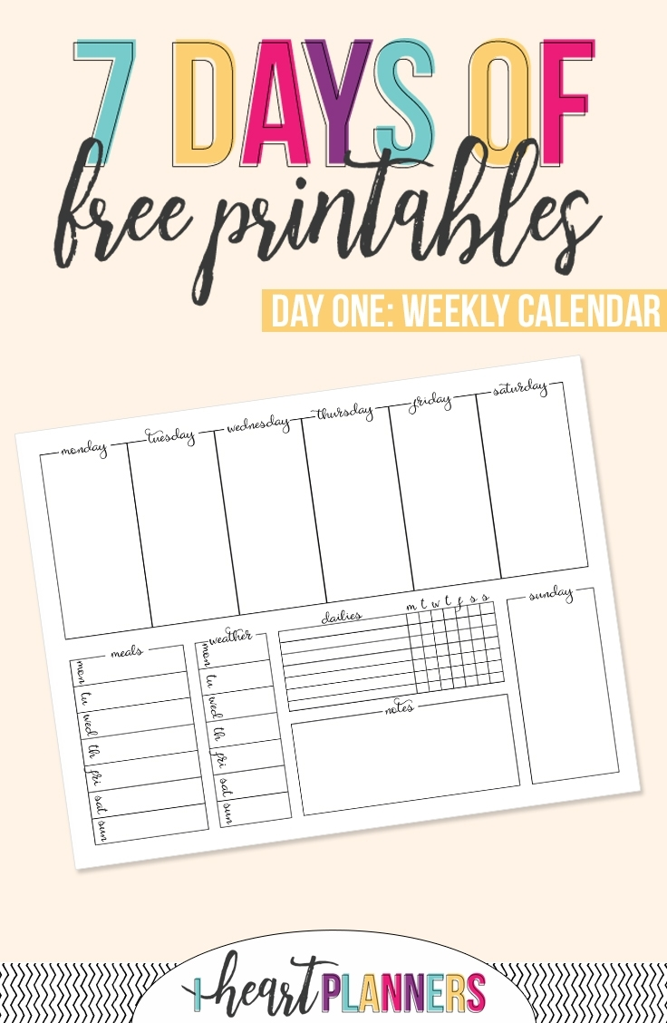 Printable Weekly Calendar - I Heart Planners