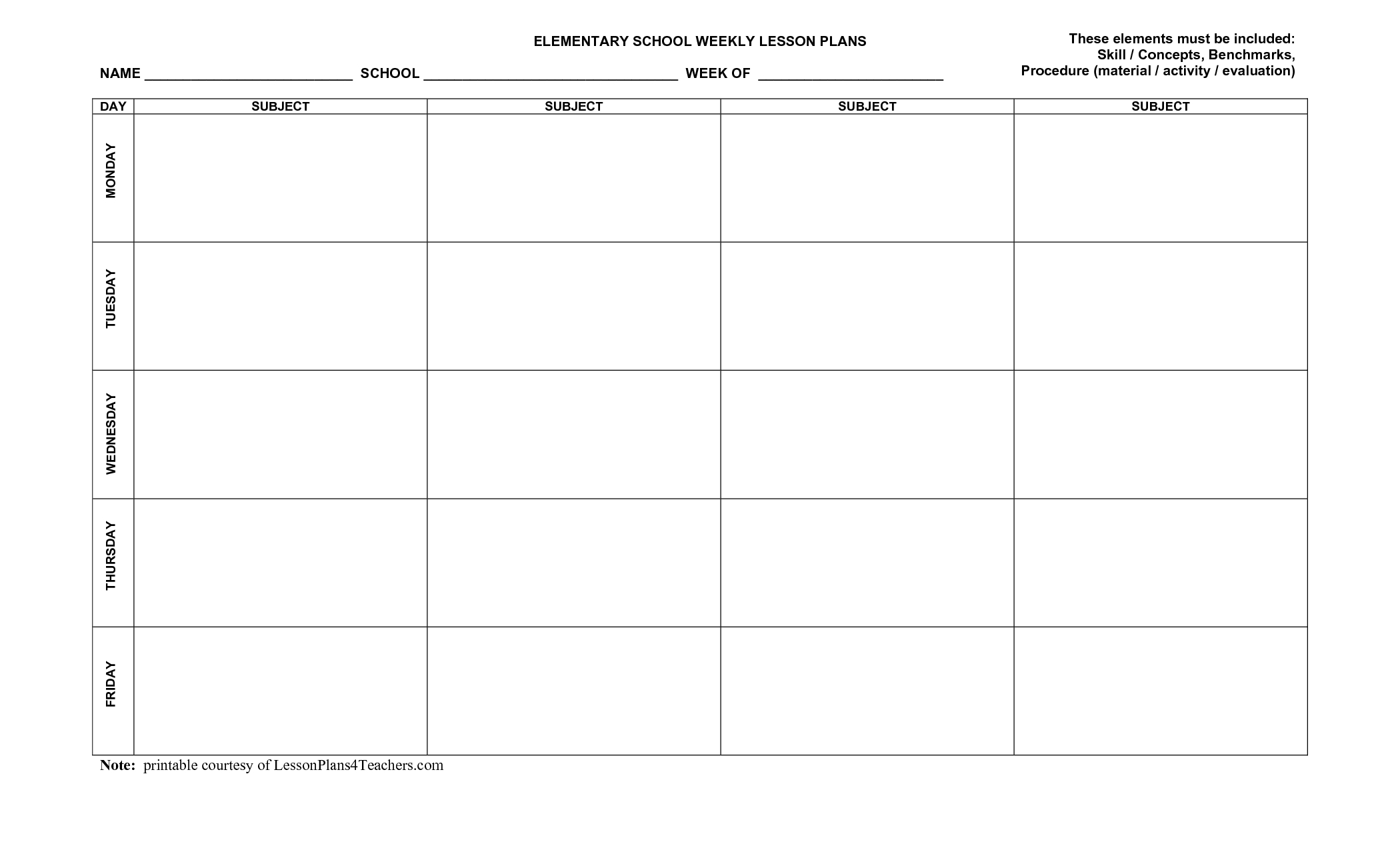 Printable+Blank+Lesson+Plan+Templates In 2020 | Lesson Plan