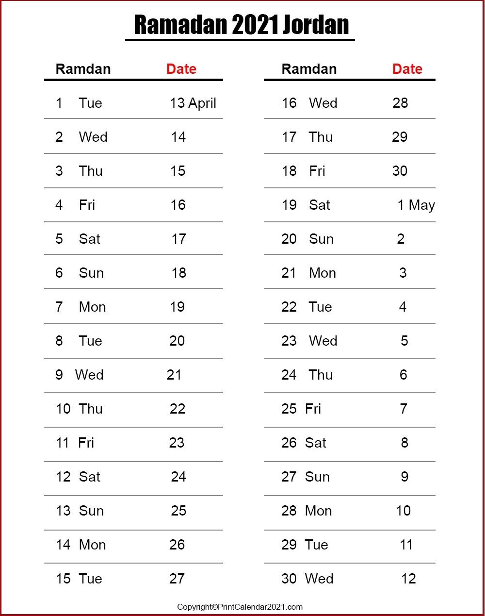 Ramadan Calendar 2021 / 1442 - Prayer Times تقويم رمضان 2021