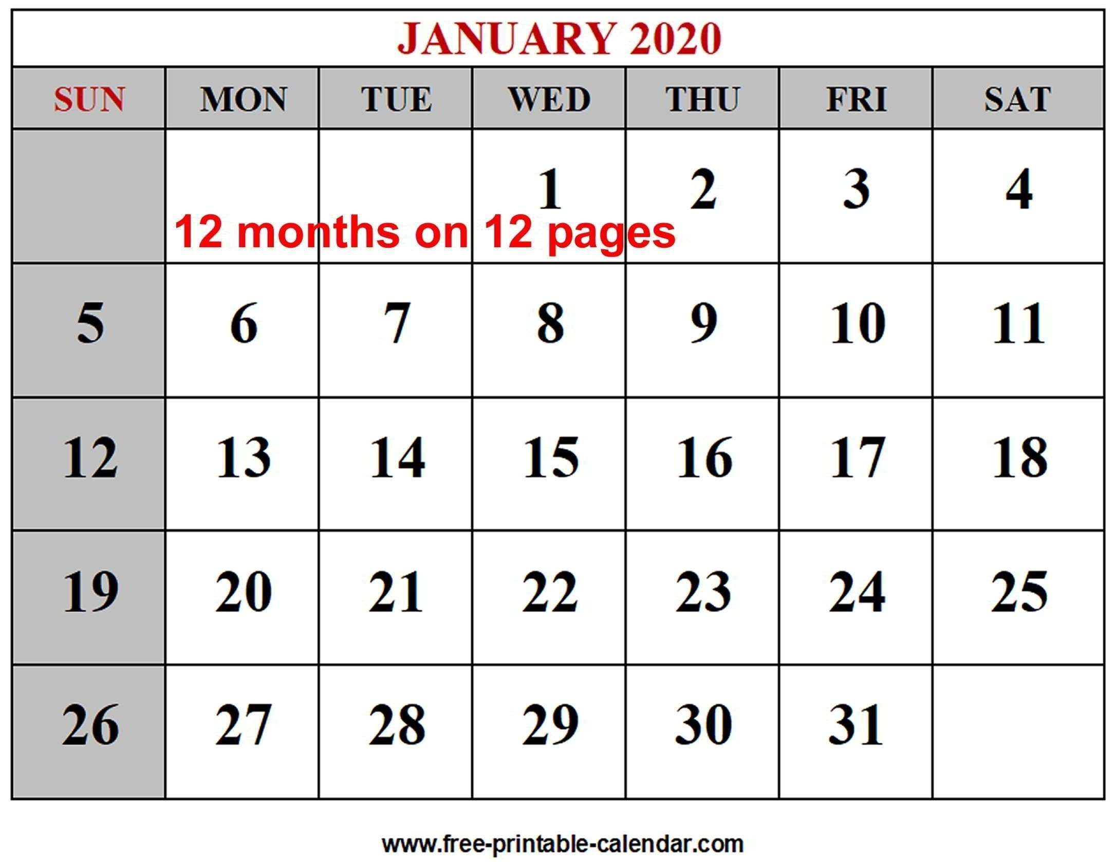 Remarkable Free Printable 2020 Monthly Calendar In 2020