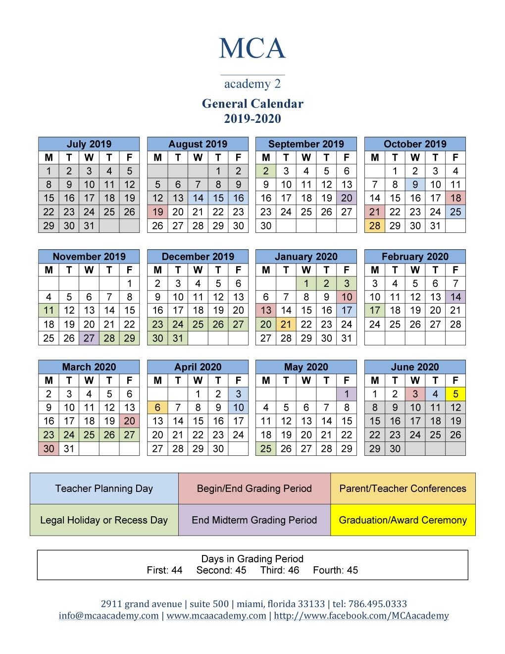 School Calendar 2019-2020 - Mca Academy