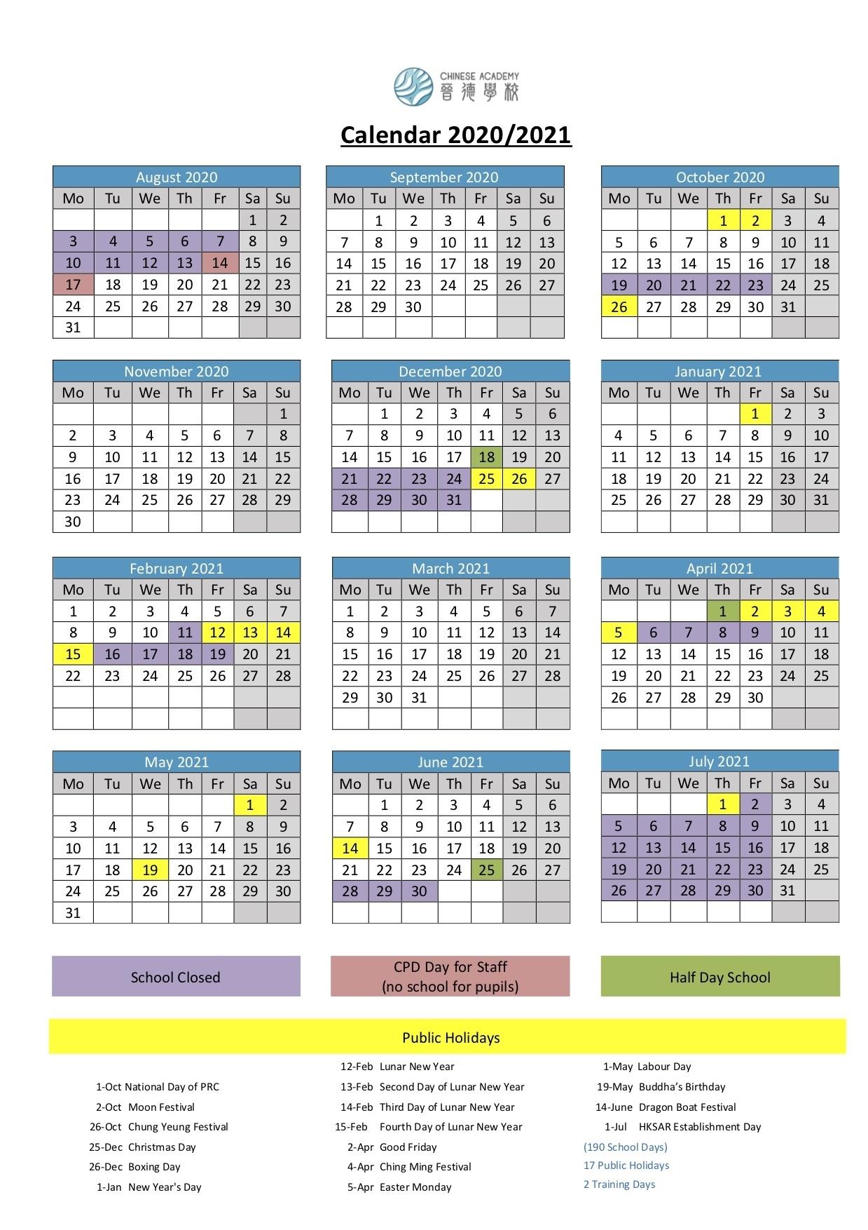 School Calendar 2020/2021 - International Chinese Academy 晉