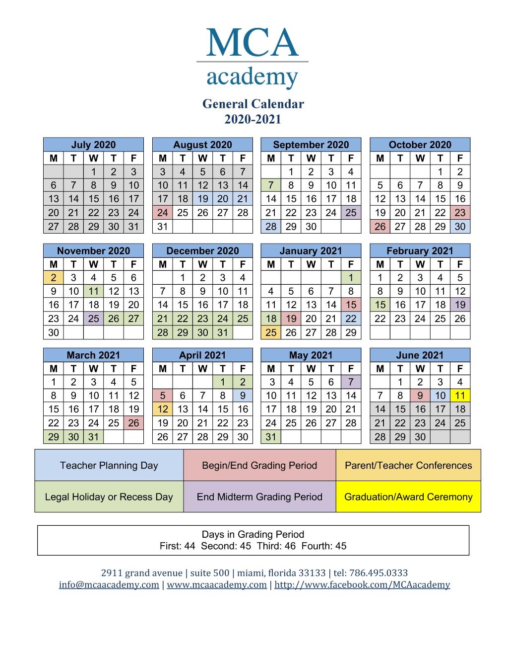 School Calendar 2020-2021 - Mca Academy
