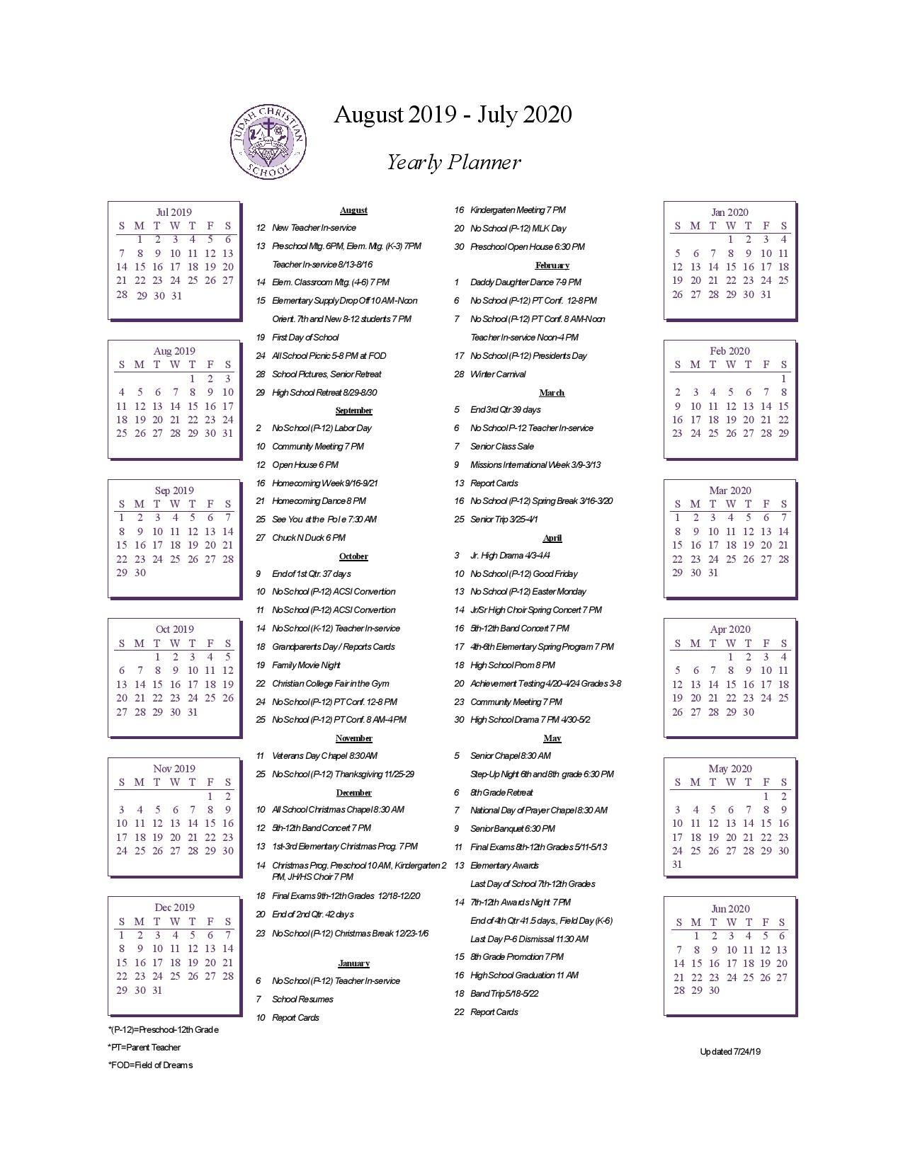 School Calendar - Judah Christian School