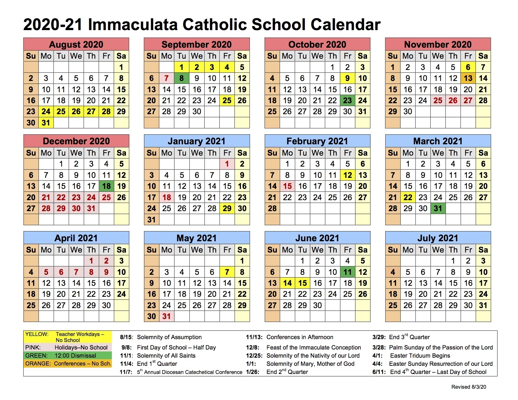 School Calendar & Uniform Regulations - Immaculata