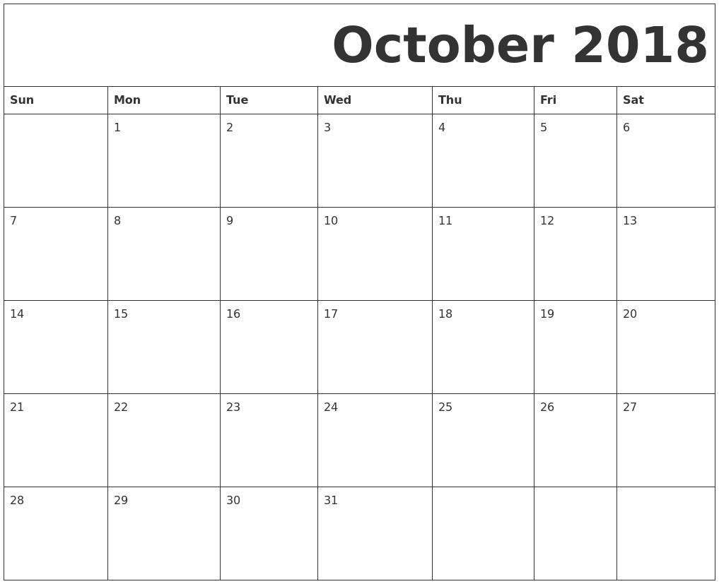 September 2018 Calendar Template | Monthly Calendar