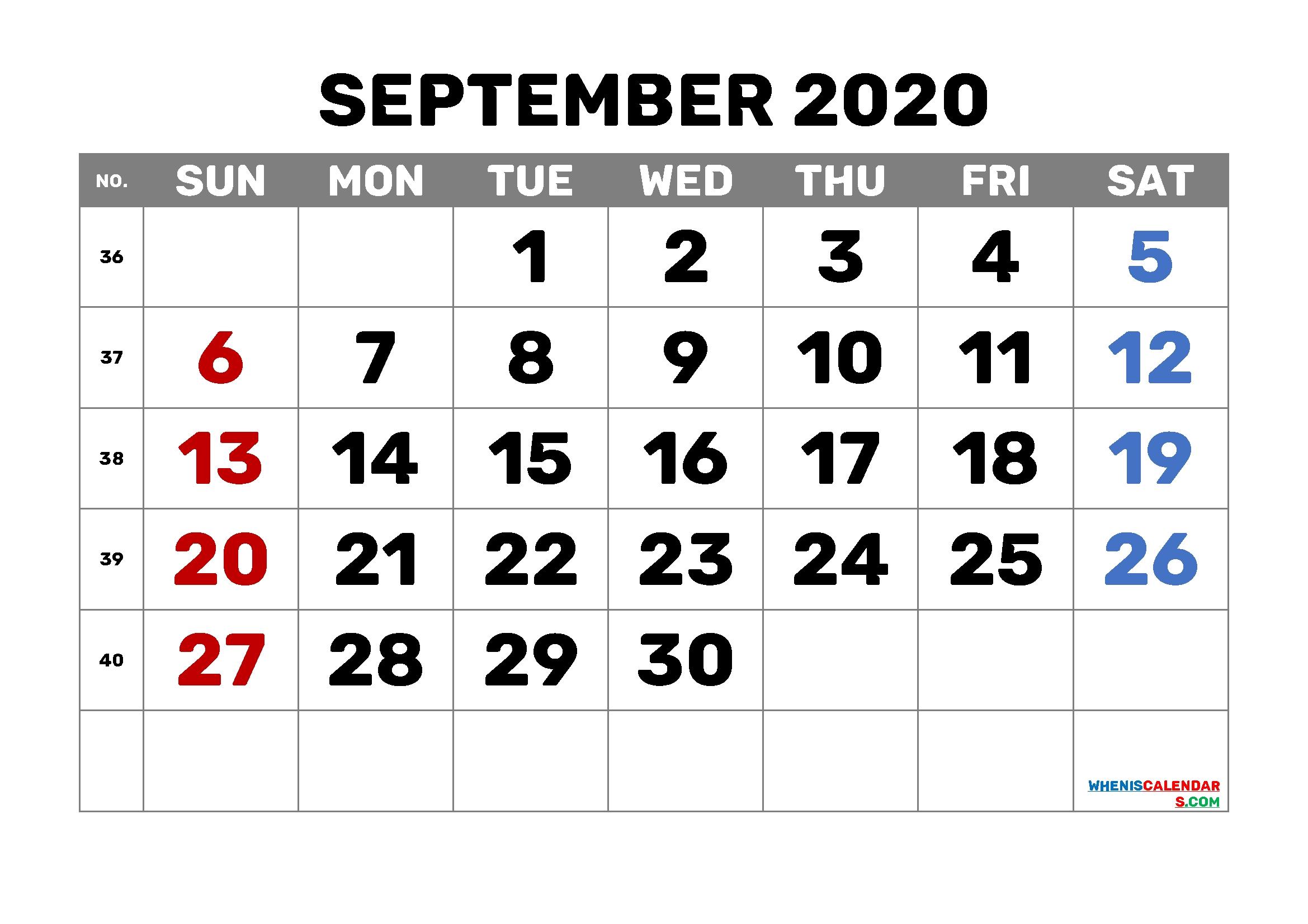 September 2020 Calendar Printable Free 6 Templates – Free