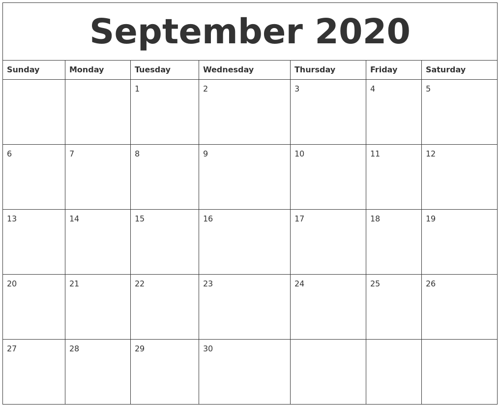 September 2020 Large Printable Calendar