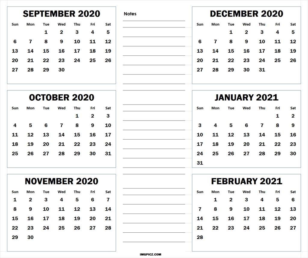 September 2020 To February 2021 Calendar Template | 6 Months