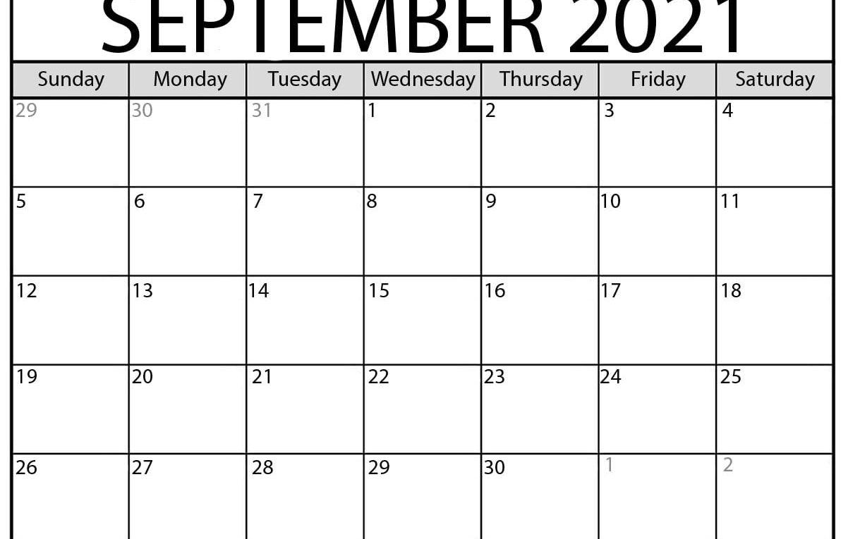 September 2021 Calendar | Blank Printable Monthly Calendars