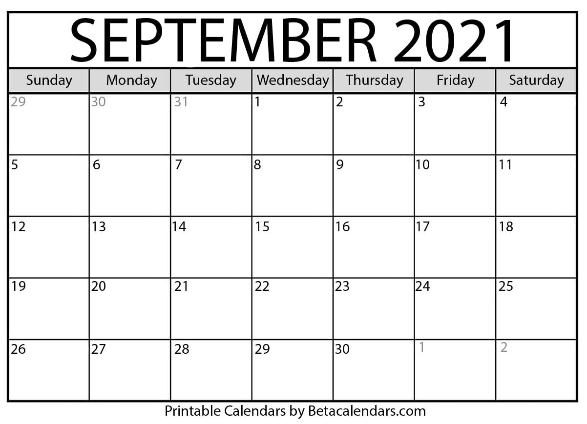 September 2021 Calendar | Blank Printable Monthly Calendars