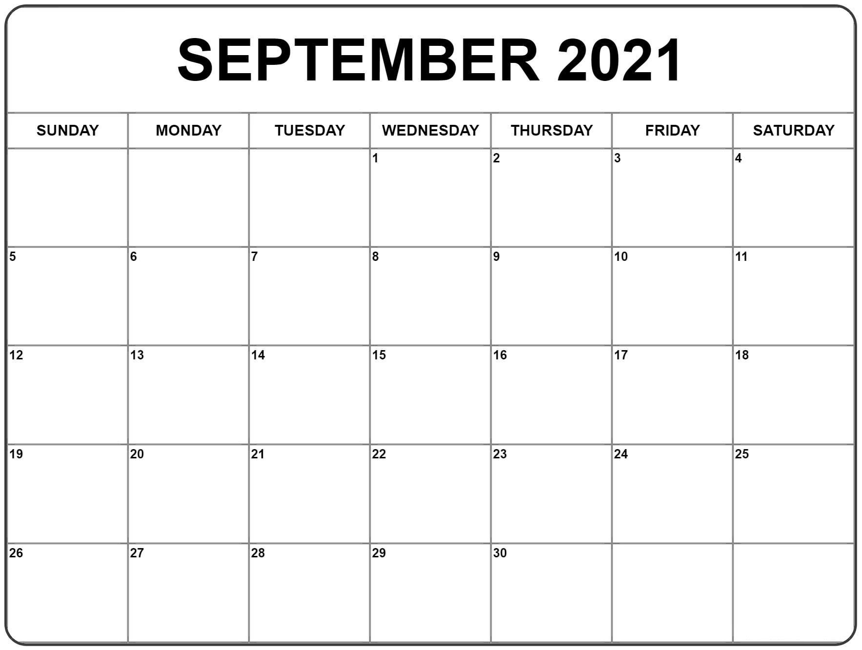 September 2021 Calendar | Monthly Calendar Printable, Blank