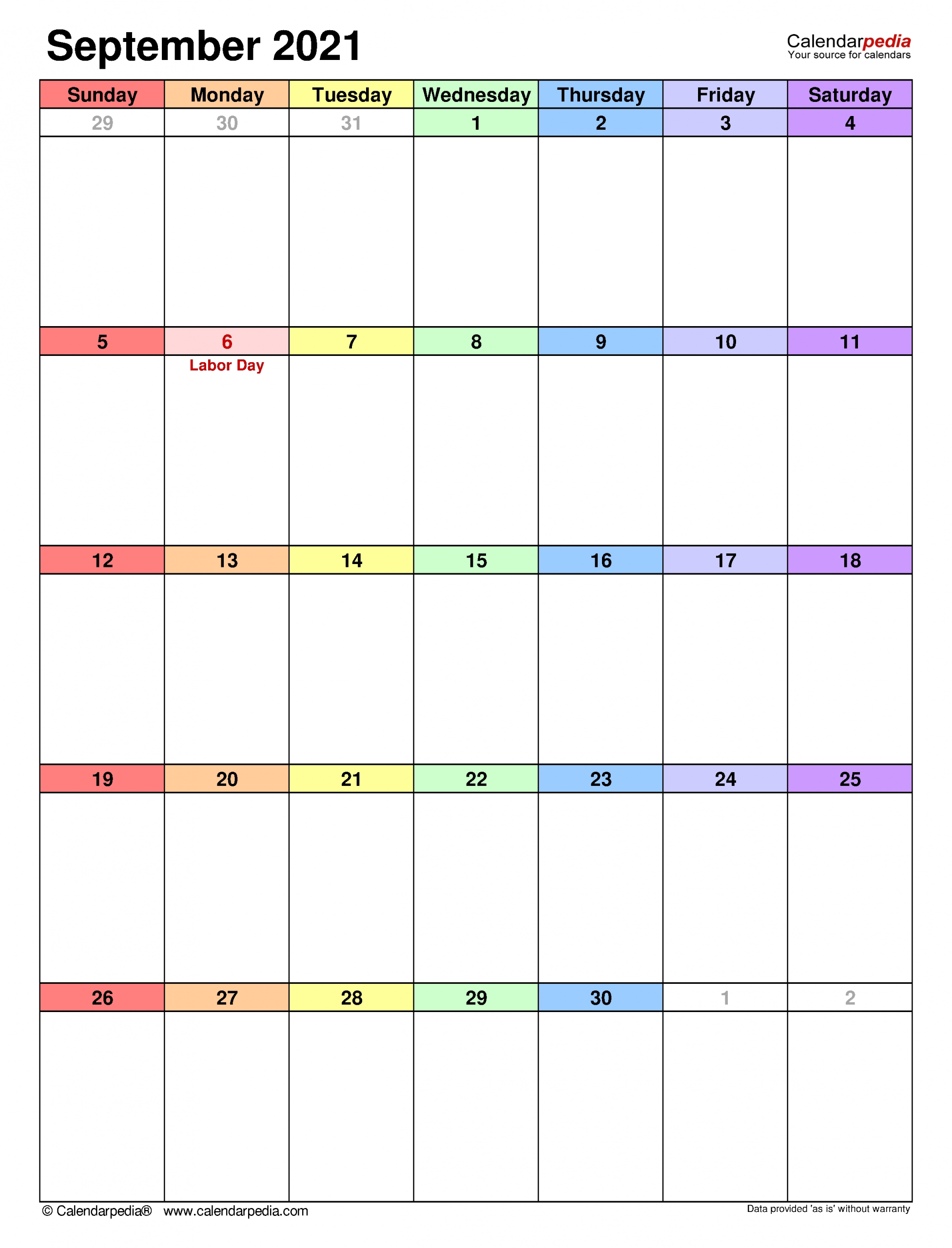 September 2021 Calendar | Templates For Word, Excel And Pdf