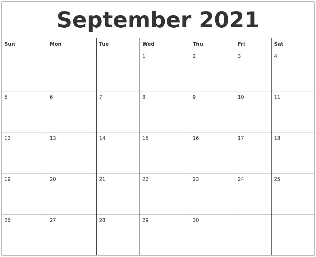 September 2021 Large Printable Calendar