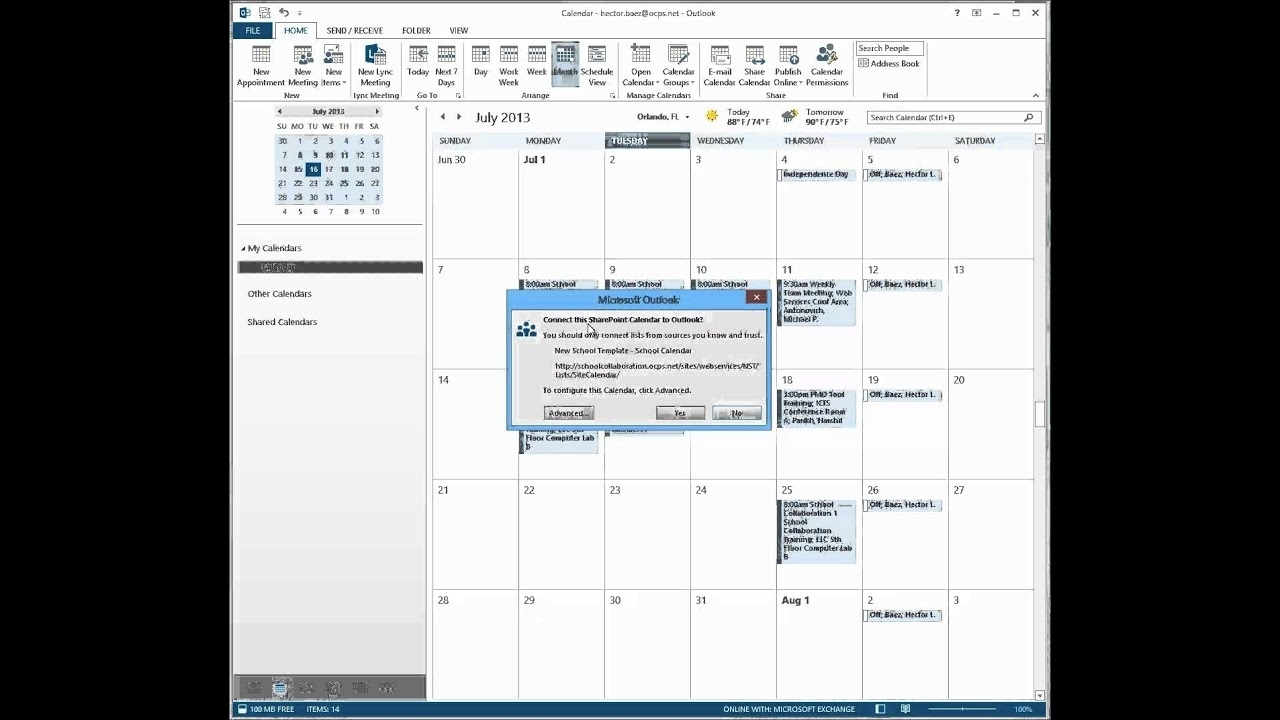 Sharepoint - Connect The Calendar To Outlook