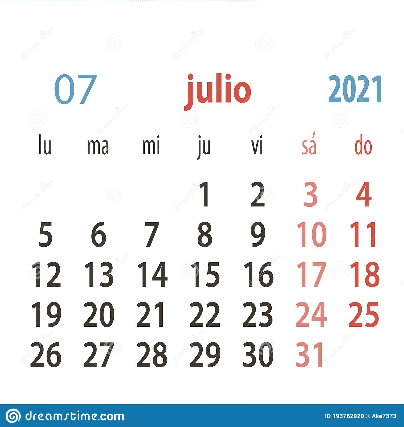 Spanish Calendar 2021 Vector Template .Week Starts Monday