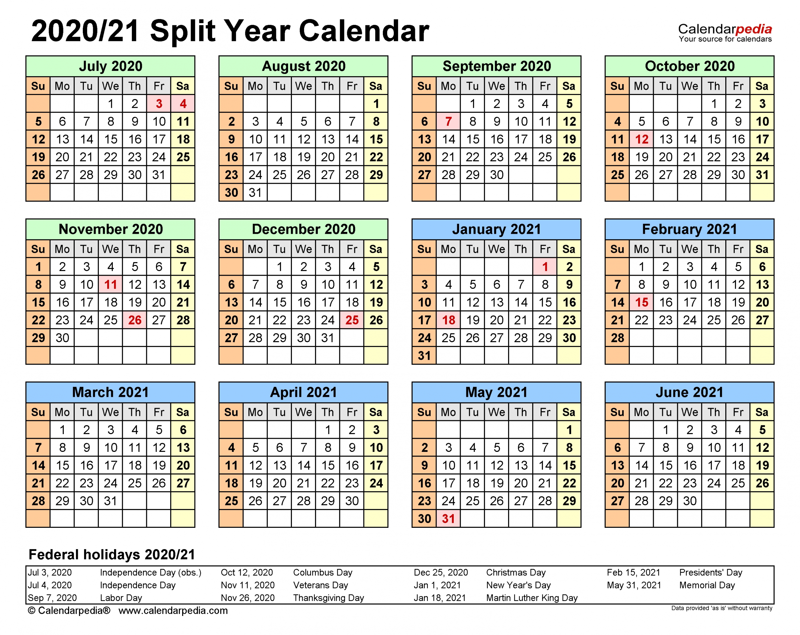 Split Year Calendars 2020/2021 (July To June) - Excel Templates