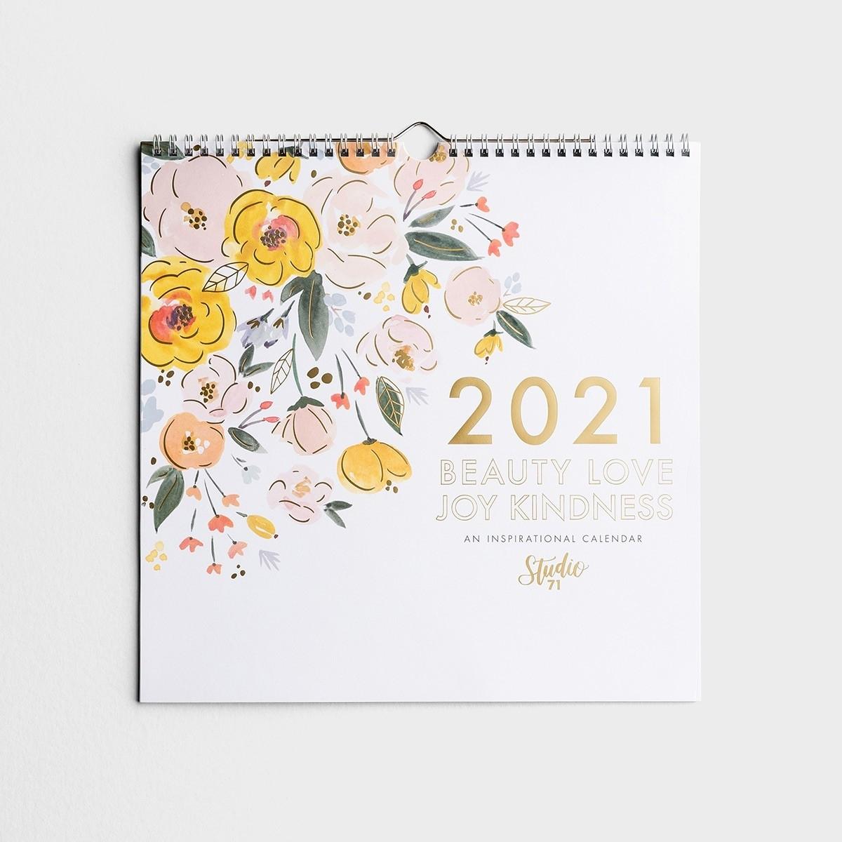 Studio 71 - Beauty Love Joy Kindness - 2021 Premium Spiral Wall Calendar
