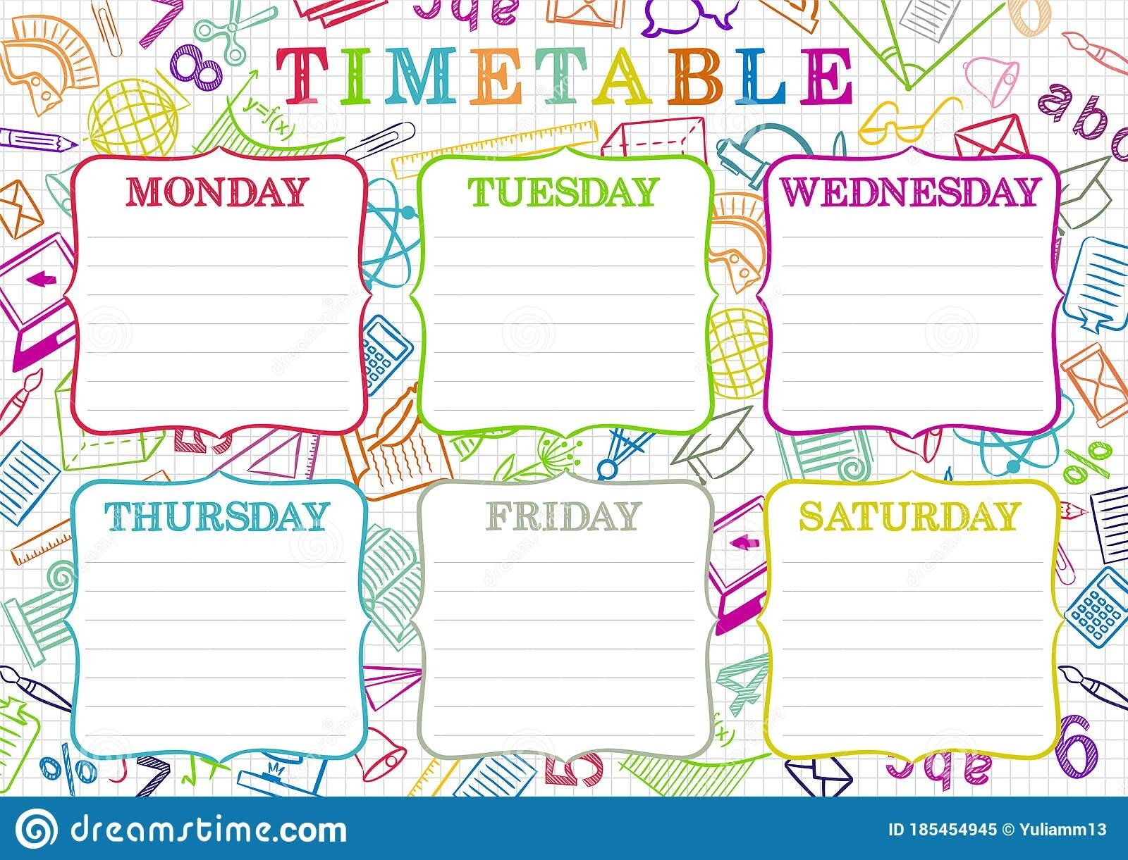 Template Of A School Schedule For 6 Days Of The Week For