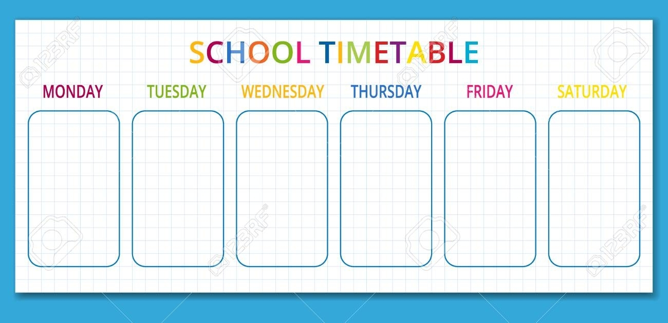 Template School Timetable For Students Or Pupils With Days Of..