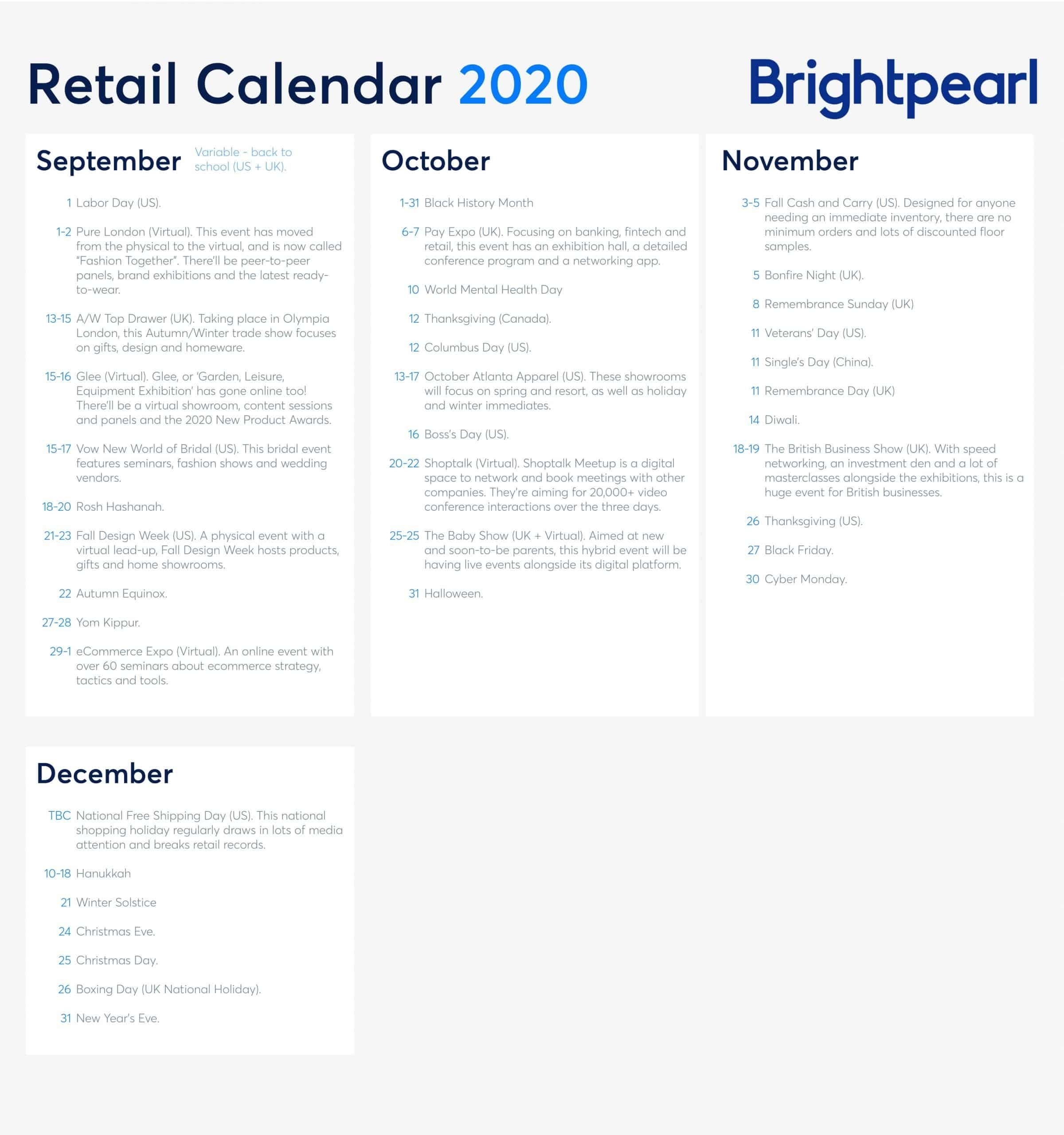 The 2020 And 2021 Retail Calendar: Key Dates You Need To