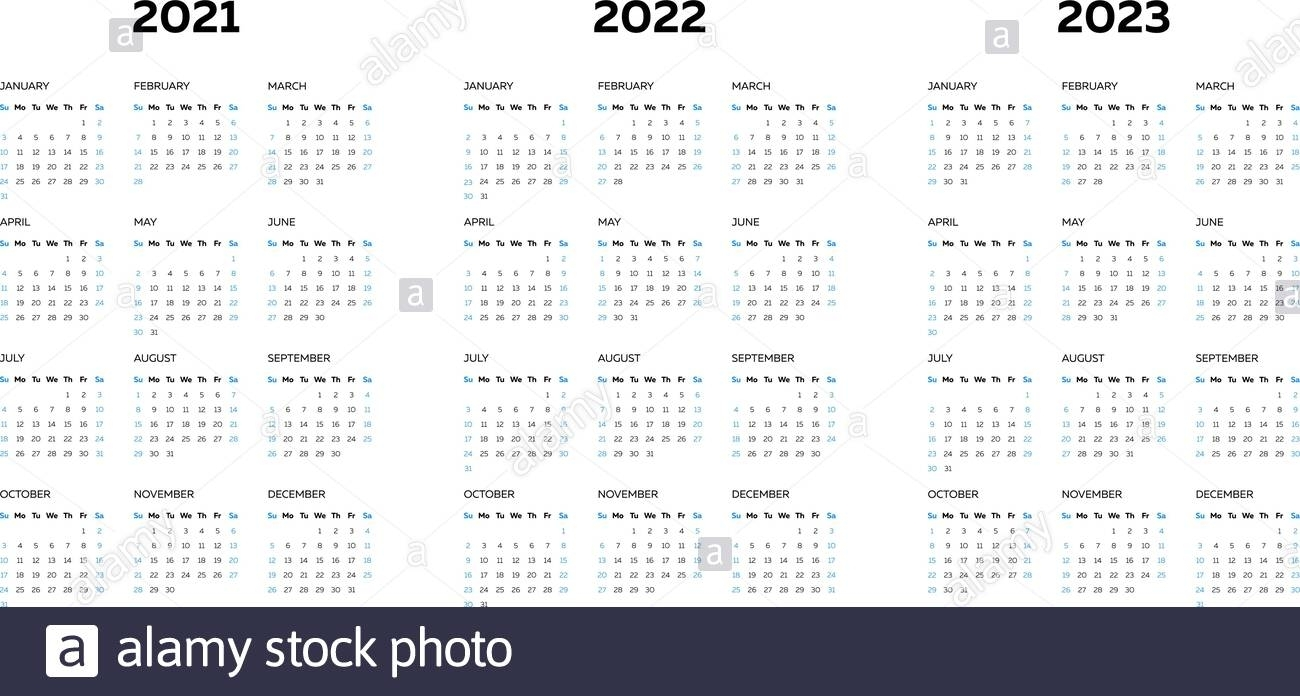 The 2021 2022 2023 Calendar Template With Vertical Monthly