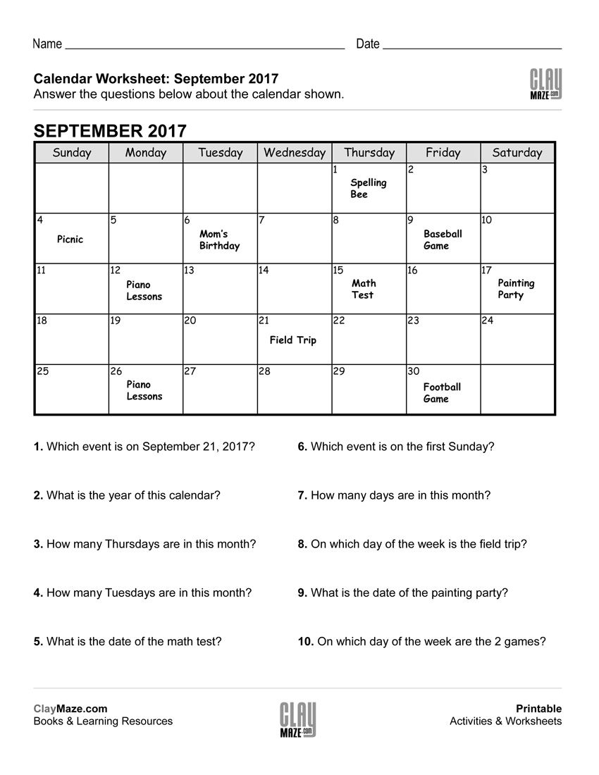 This Worksheet Features A Calendar With Events Posted On