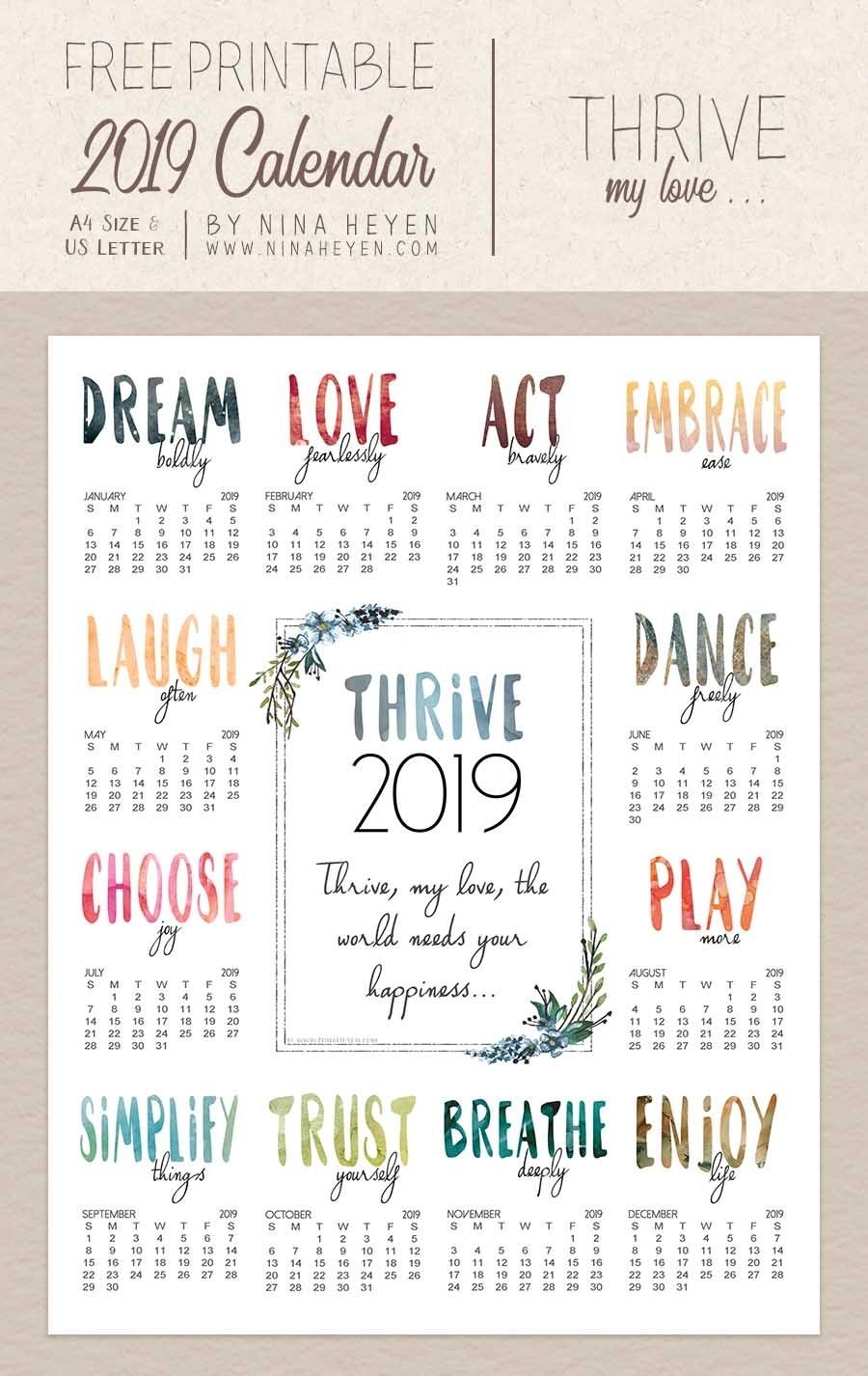 Thrive | Free Printable Wall Calendar 2019 | Nina Heyen
