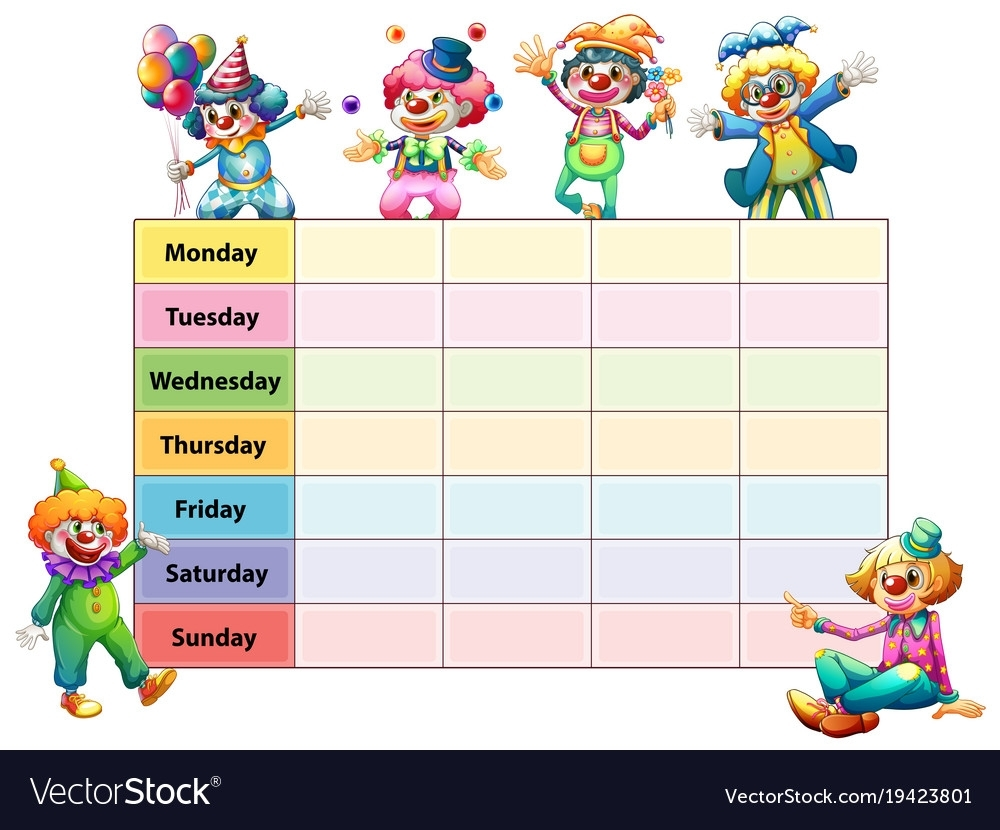 Timetable Template With Days Week And Royalty Free Vector