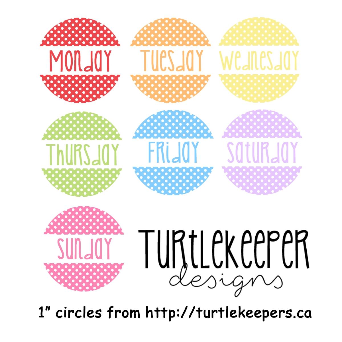 Turtlekeeper Designs : Days Of The Week Templates