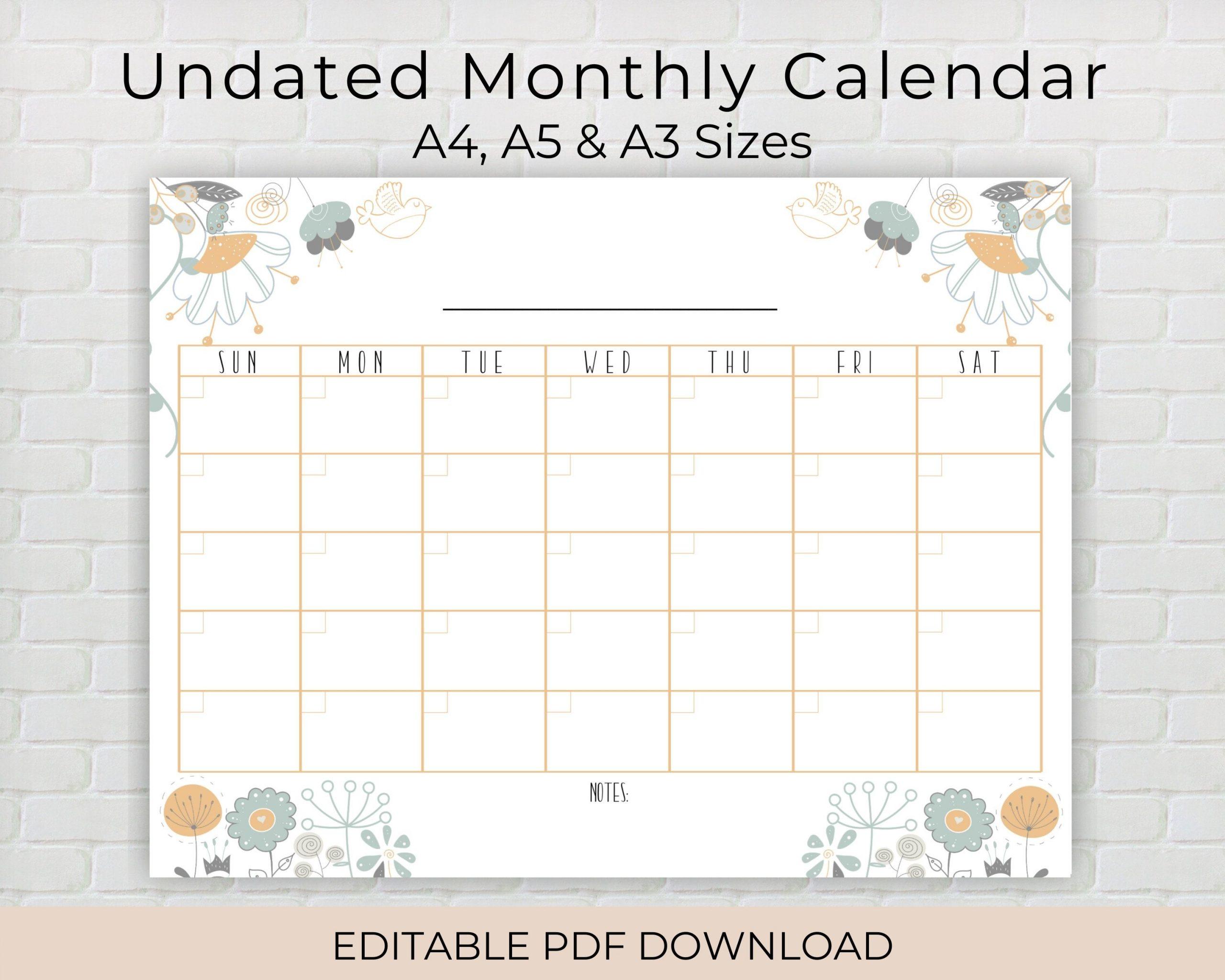Undated Editable Monthly Calendar Printable Planner Pdf