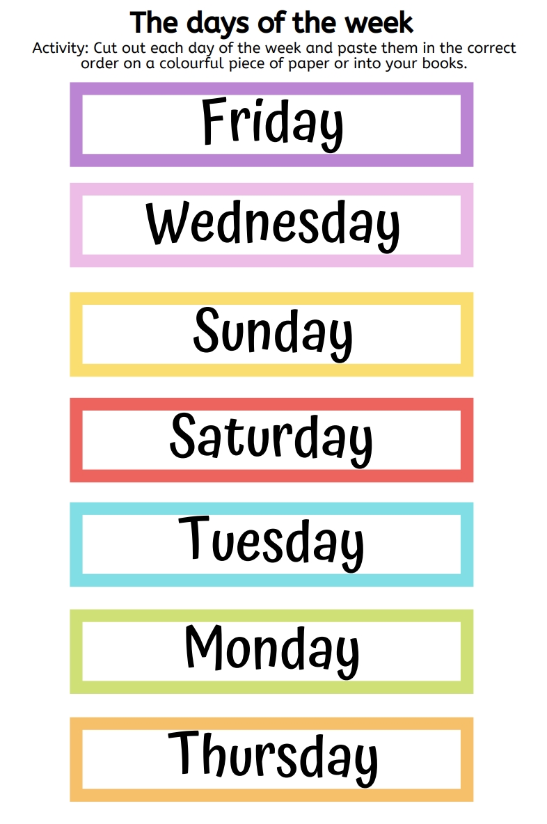 Unjumble The Days Of The Week Free Printable Activity In