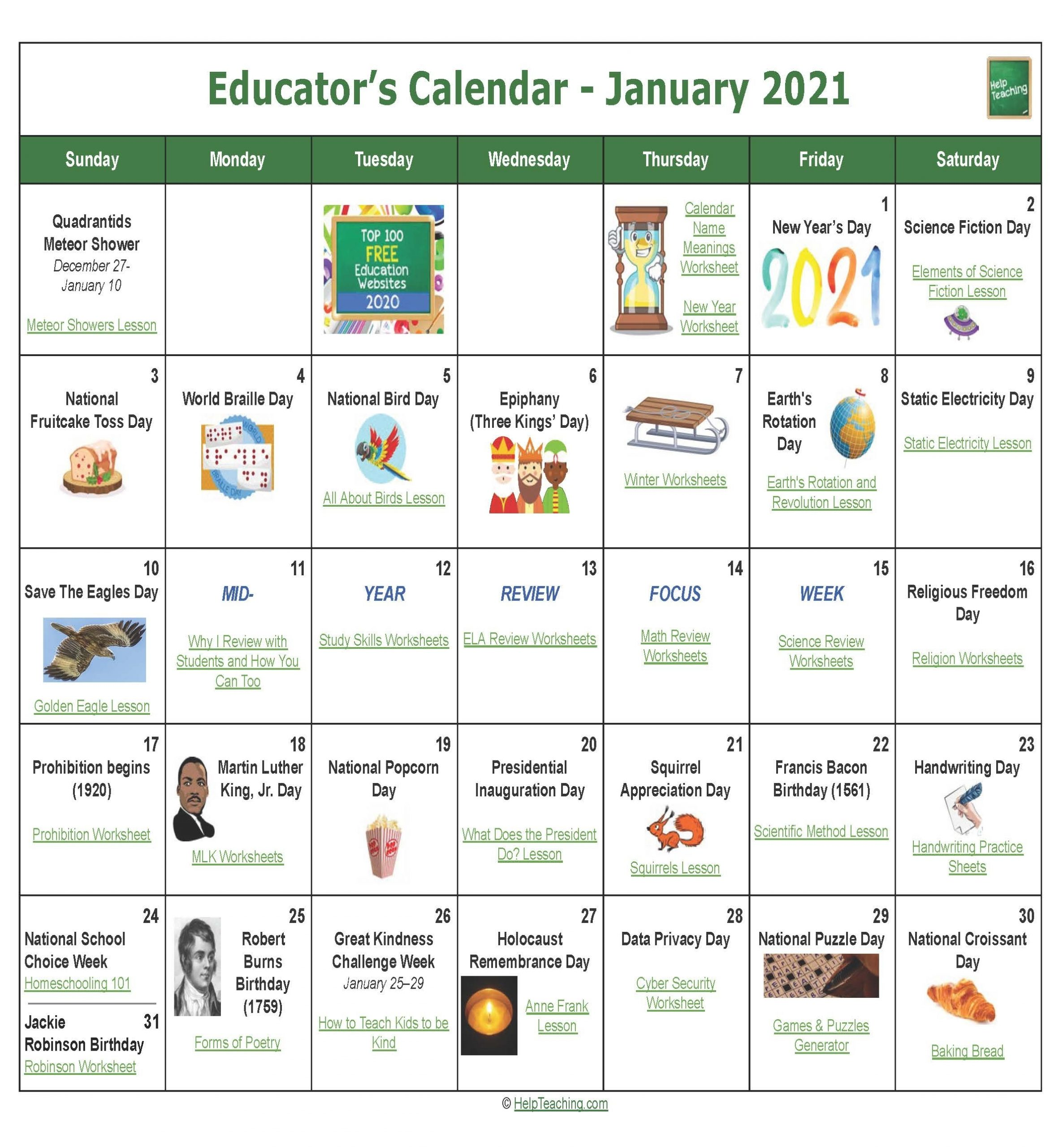 Us Educator'S Calendar 2020-2021