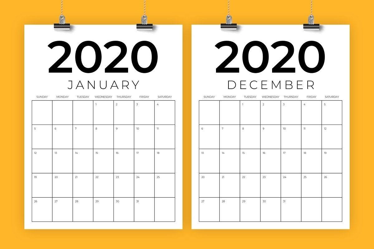 Vertical 8.5 X 11 Inch 2020 Calendar | Calendar Template