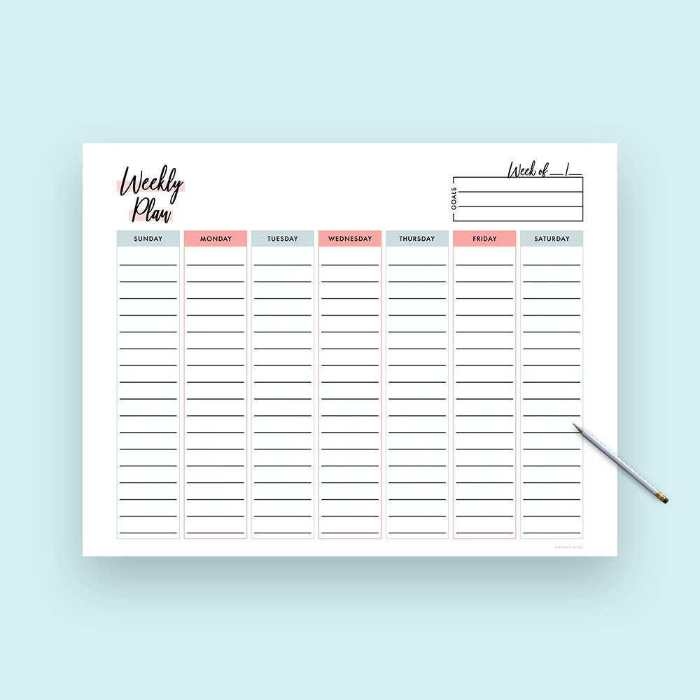 Vertical Weekly Planner Template (With Goals)