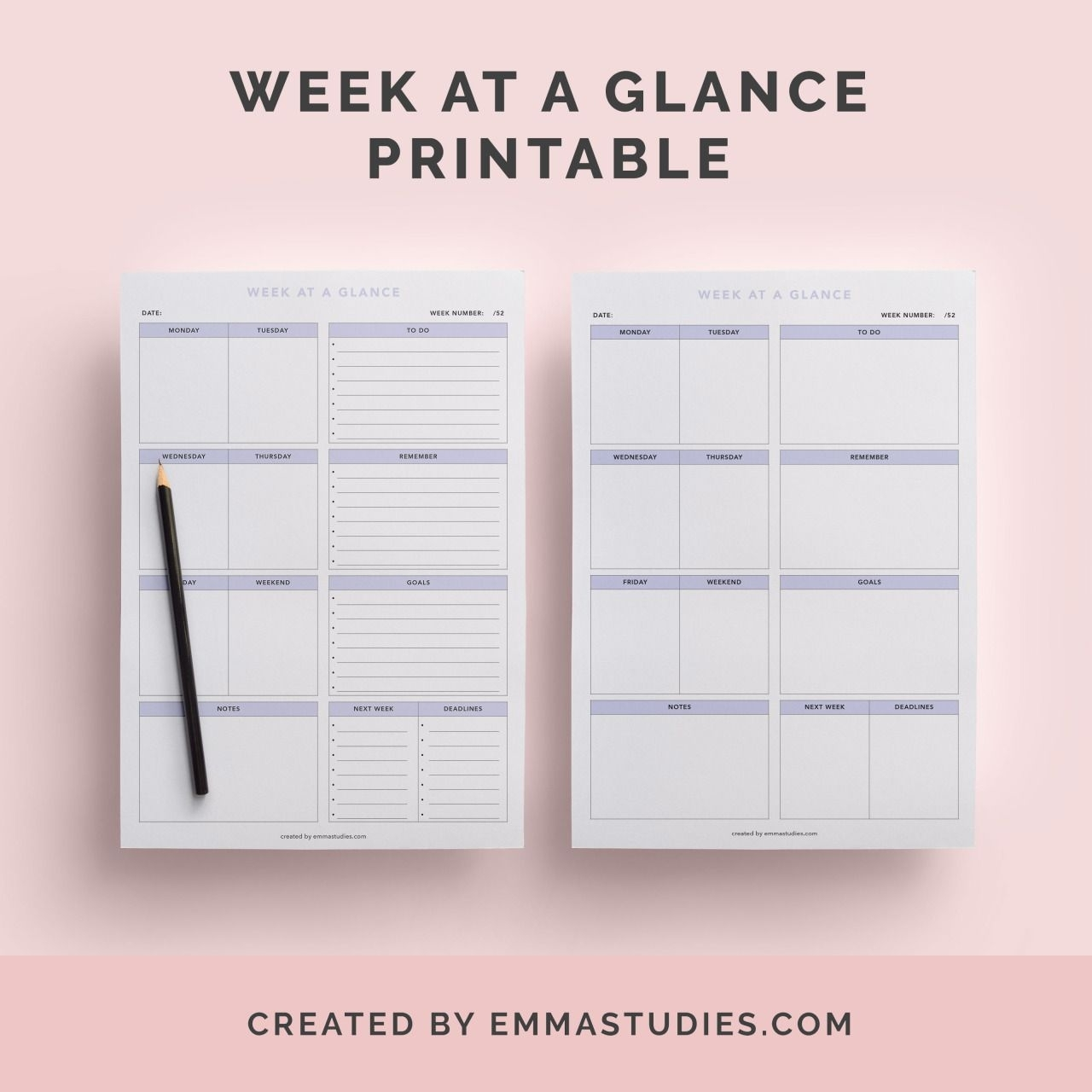 Week At A Glance Weekly Schedule Free Printable For Download
