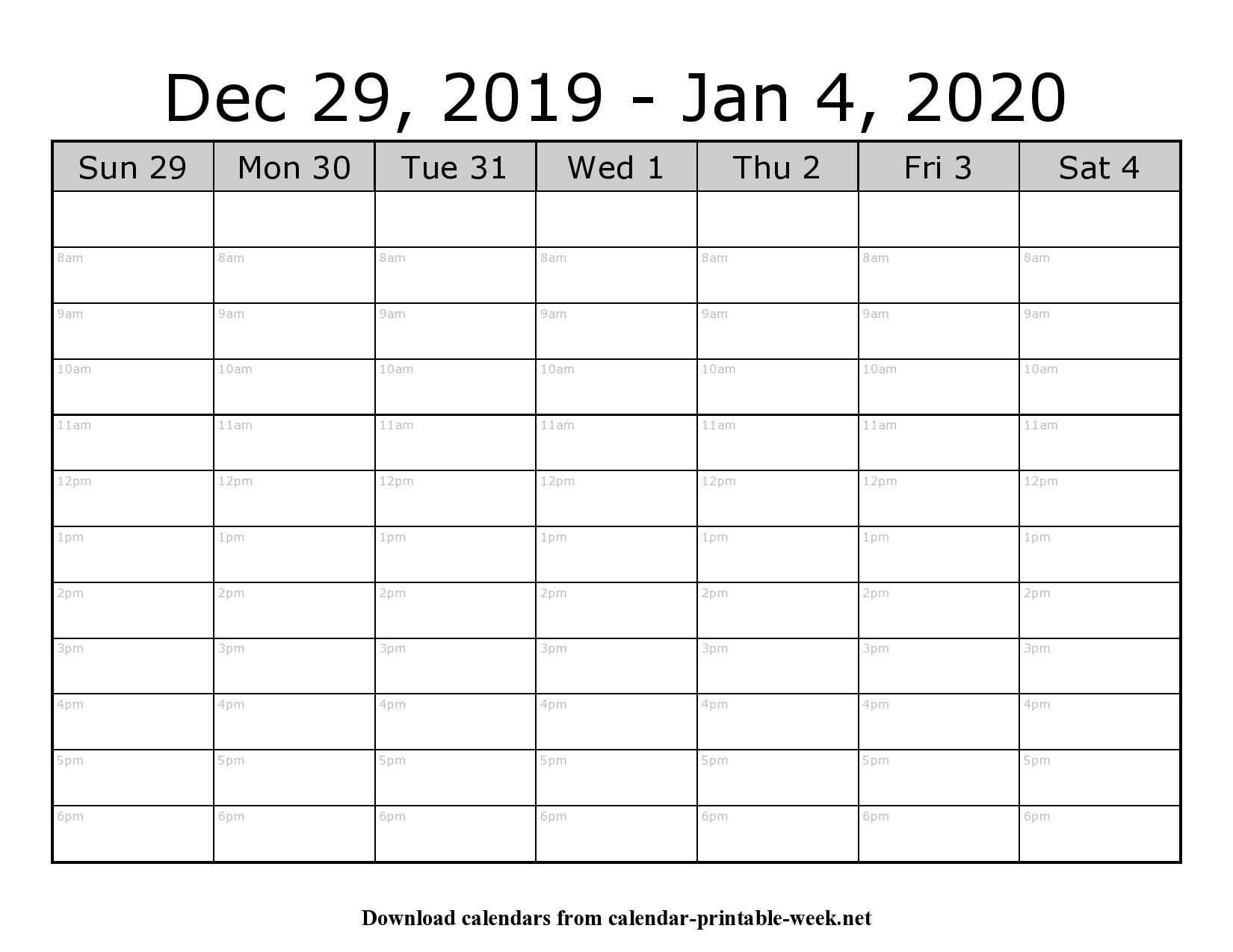 Weekly Calendar Schedule – Calendar Printable Week