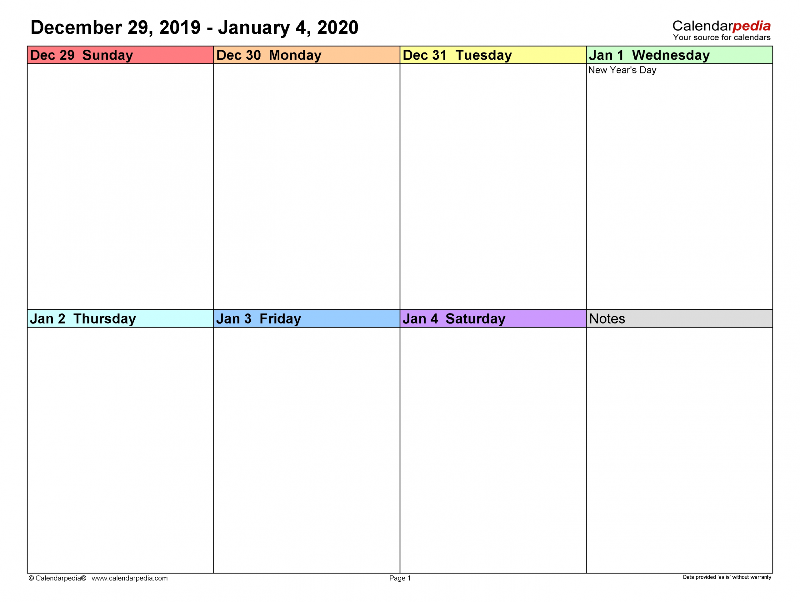 Weekly Calendars 2020 For Pdf - 12 Free Printable Templates