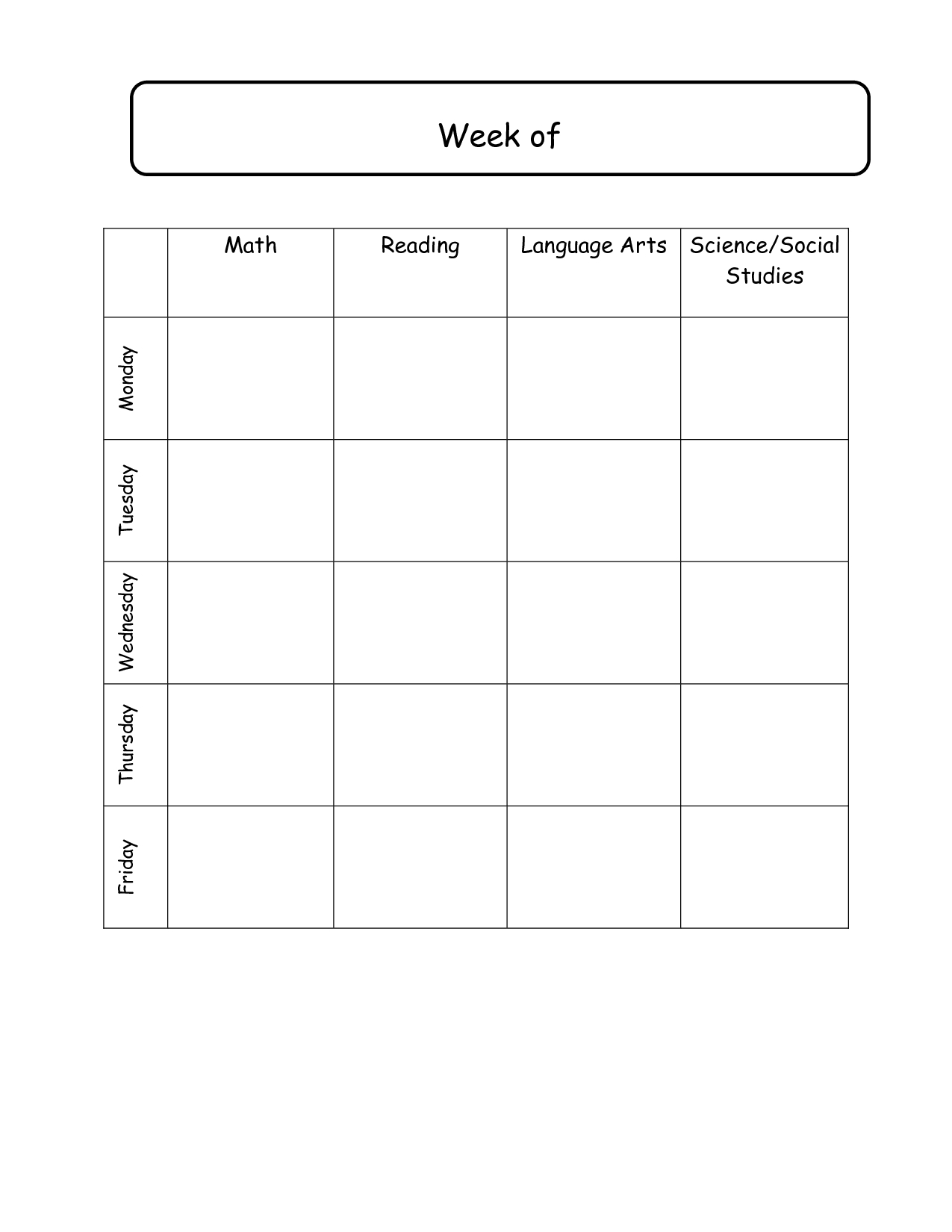 Weekly Lesson Plans Template | Weekly Lesson Plan Template