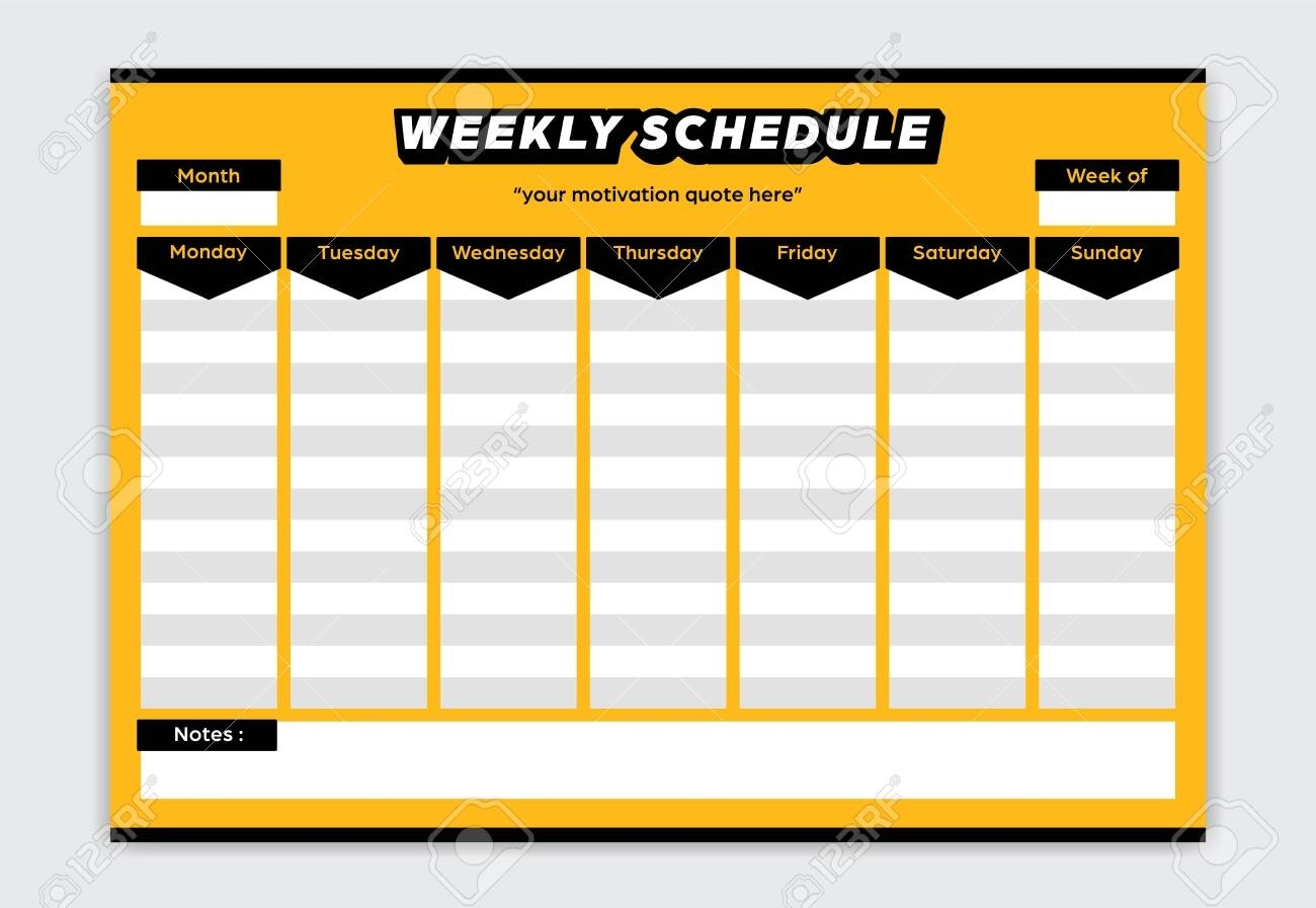 Weekly Schedule Bold Yellow And Black Color Style Planner Monday..