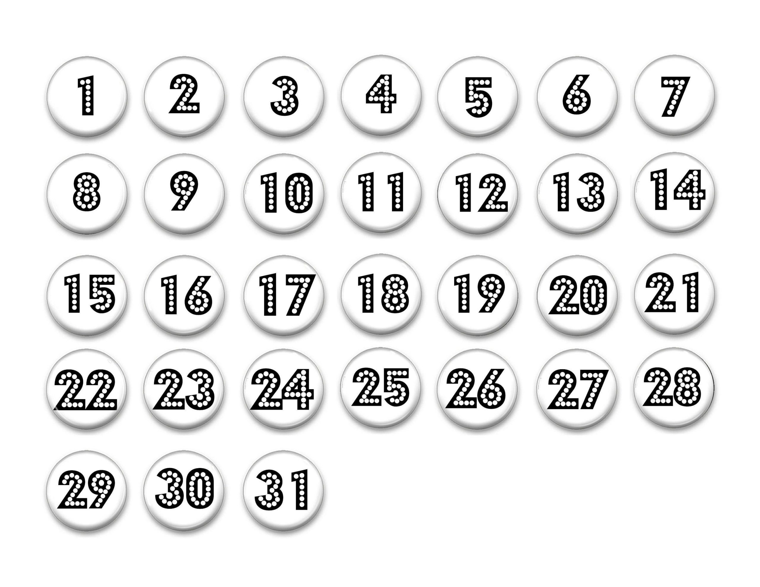 White And Black Perpetual Calendar-Numbers 1-31 1   Etsy In