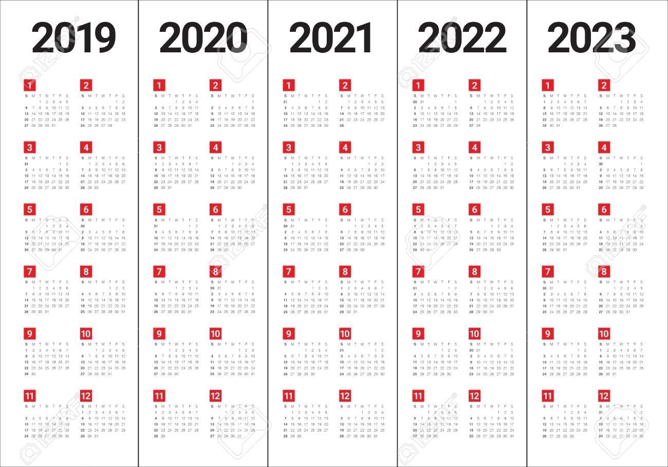 Year 2019 2020 2021 2022 2023 Calendar Vector Design Template,..
