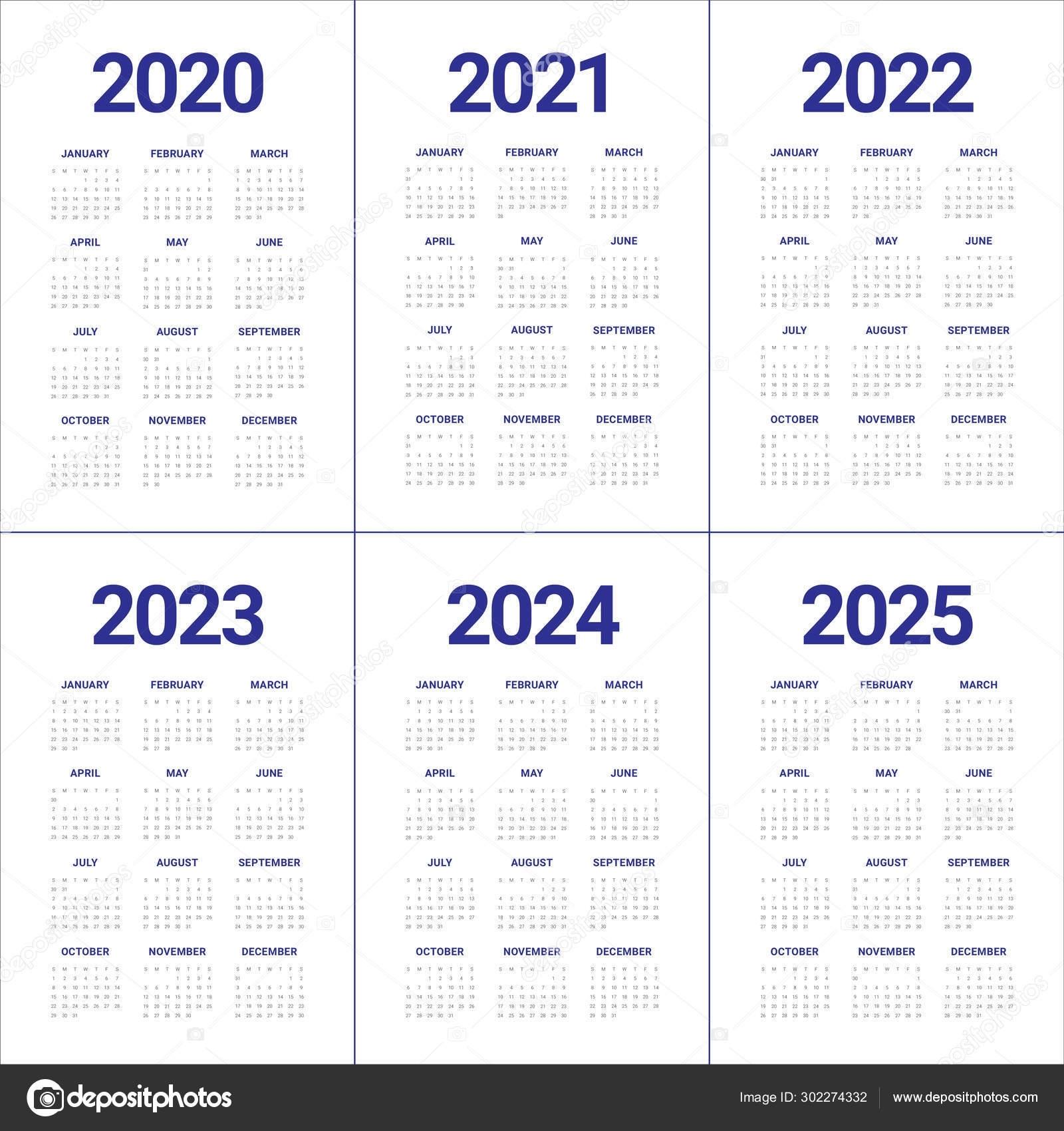 Year 2020 2021 2022 2023 2024 2025 Calendar Vector Design Templa 302274332
