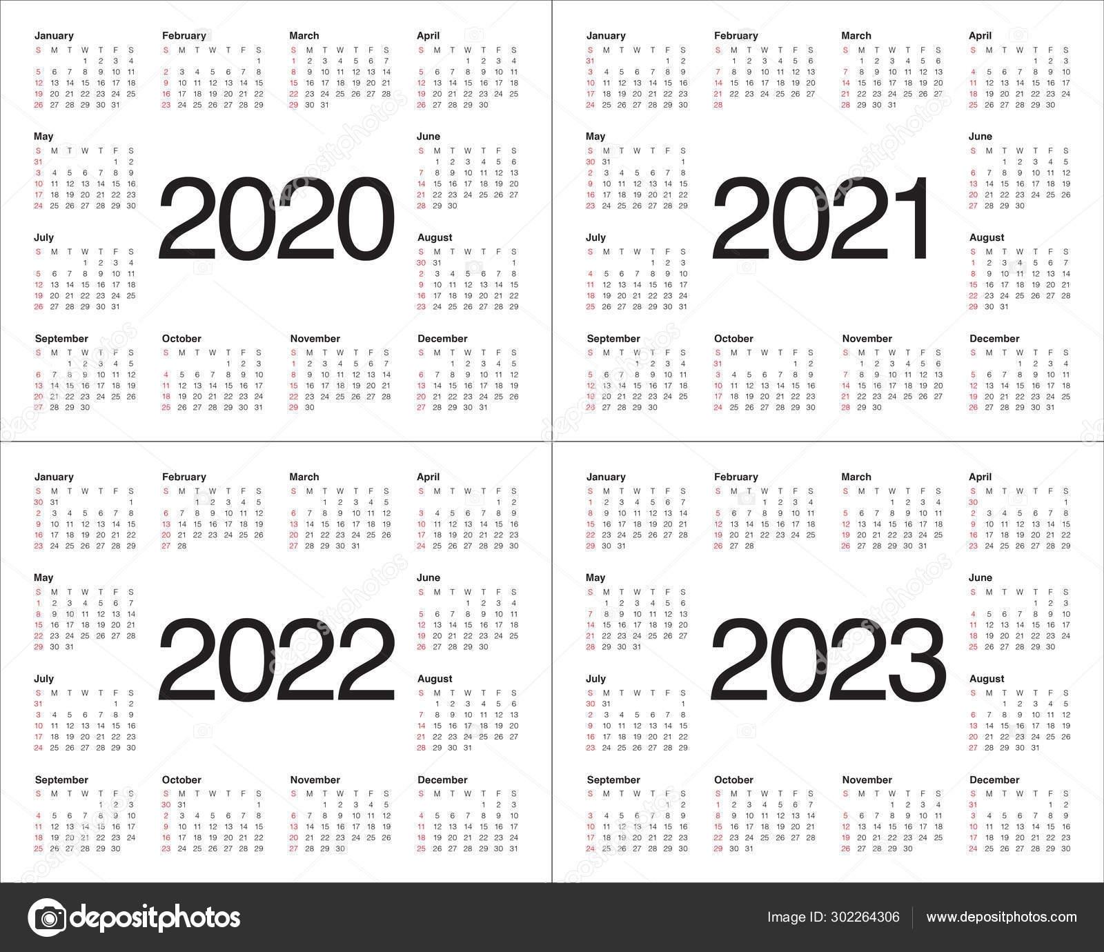 Year 2020 2021 2022 2023 Calendar Vector Design Template 302264306