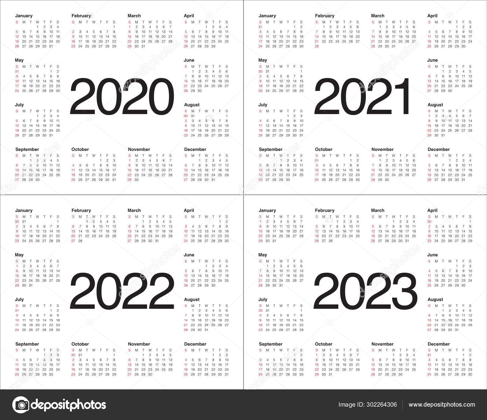 Year 2020 2021 2022 2023 Calendar Vector Design Template 302264306