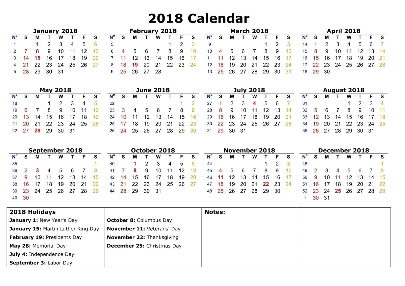 Year Calendar With Space To Write In 2020 | Printable