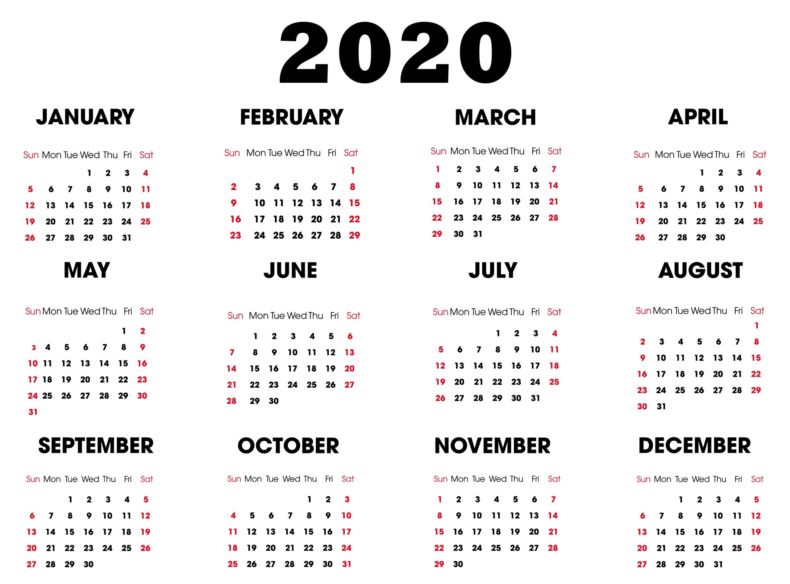 Yearly 2020 Printable Calendar | Free Printable Calendar